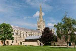 Norwich Cathedral in the summer